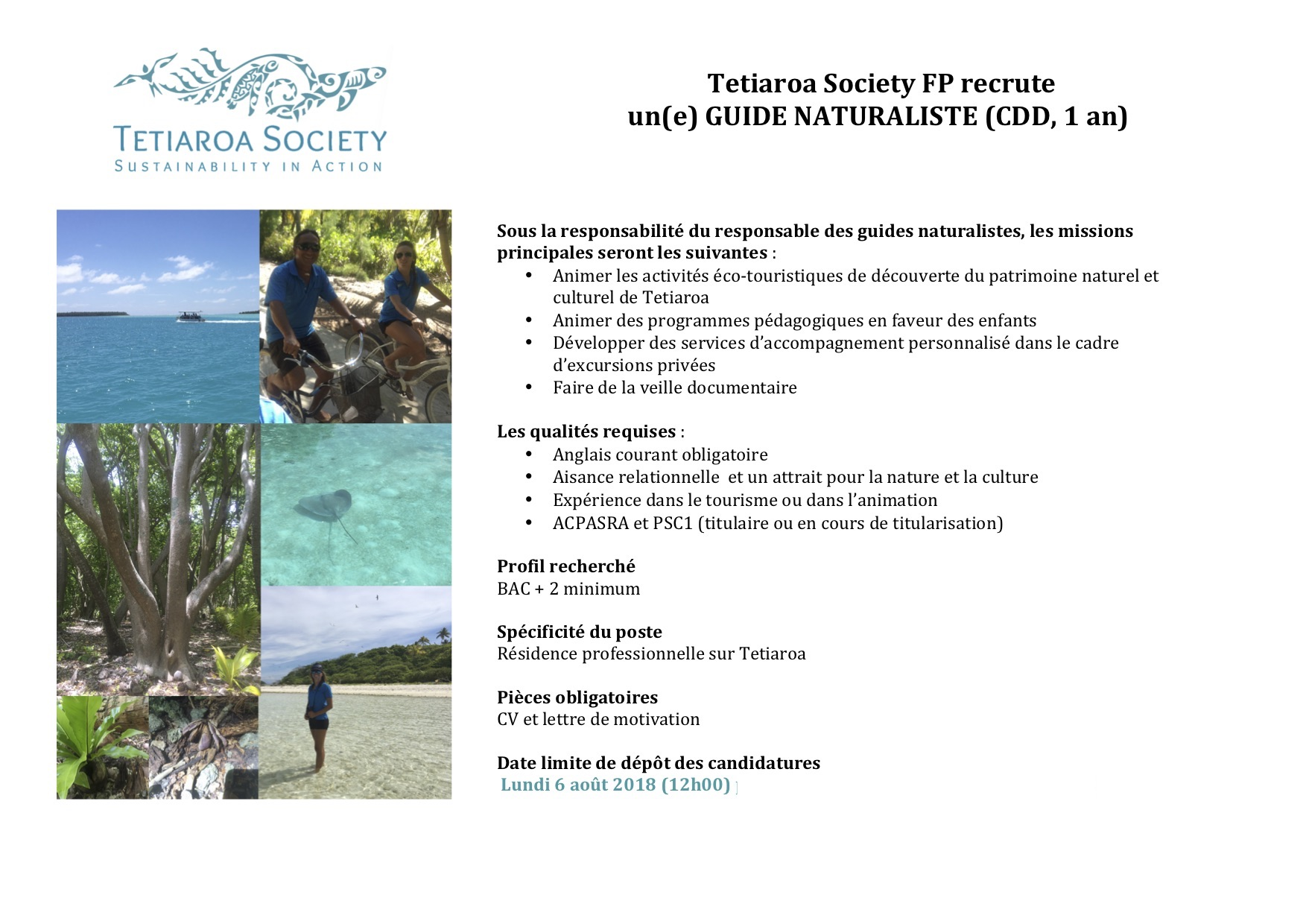 Job opportunity with Tetiaroa Society - Nature Guide