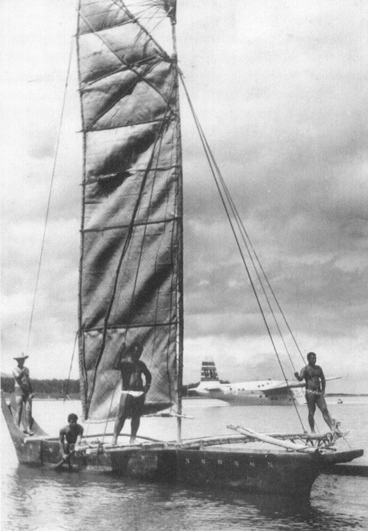 va'a with pandanus sails