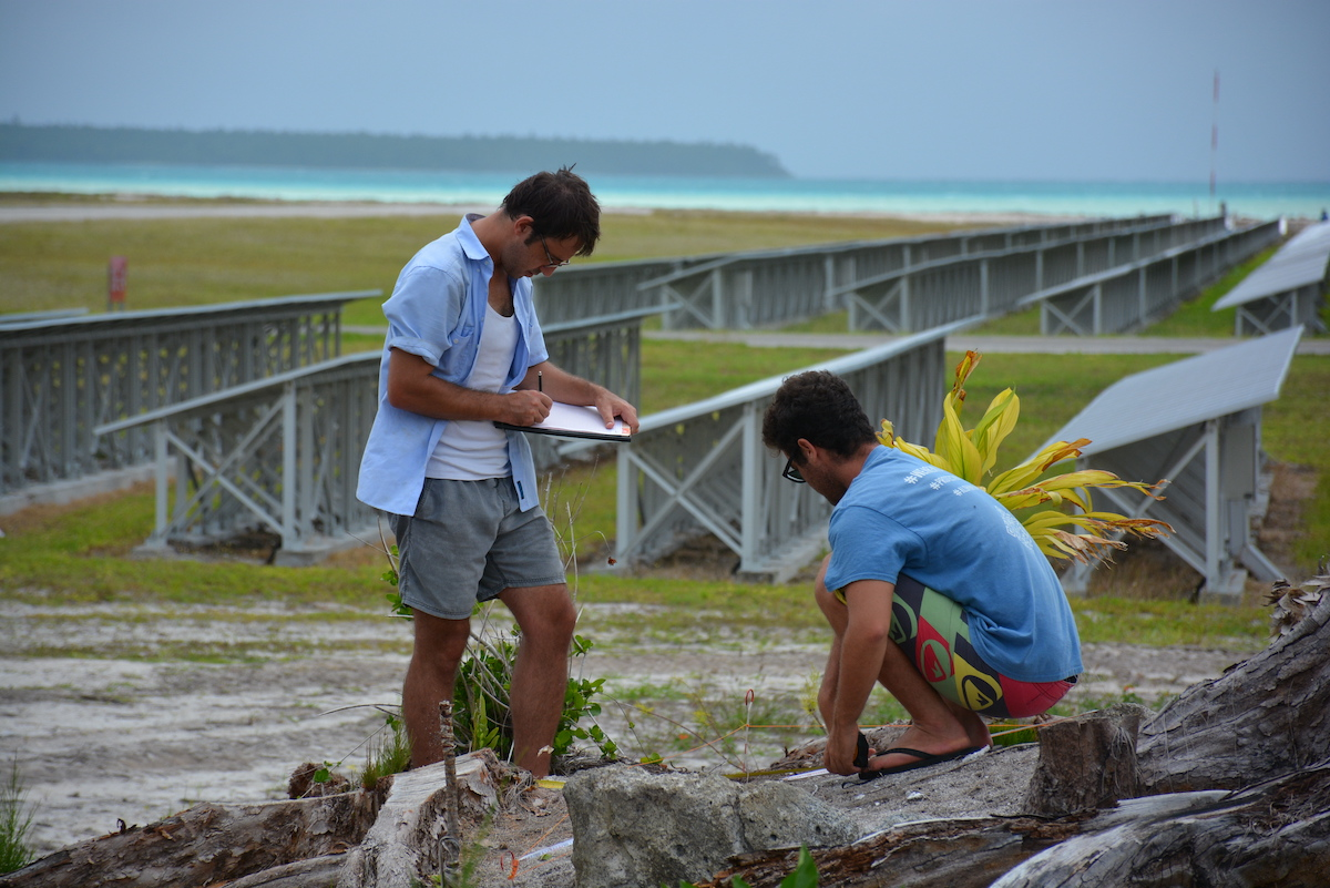 mapping a site on motu Onetahi, Tetiaroa