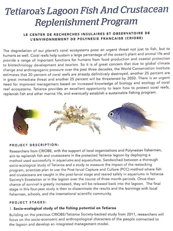 read the pdf: Tetiaroa's Lagoon fish and crustacean replenishment program