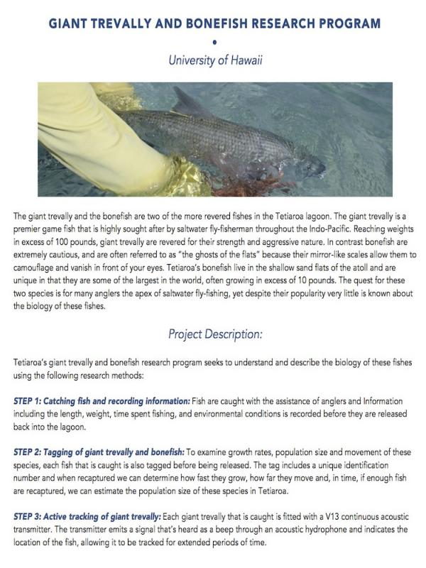 read the pdf: Giant trevally and bonefish research program