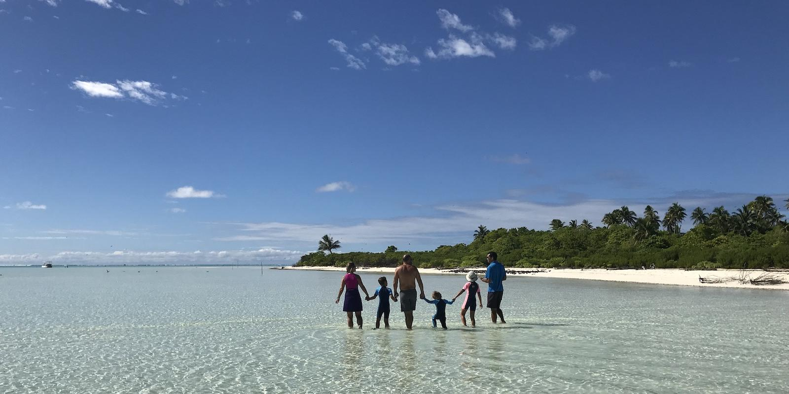 Tetiaroa Society nature guide with a family